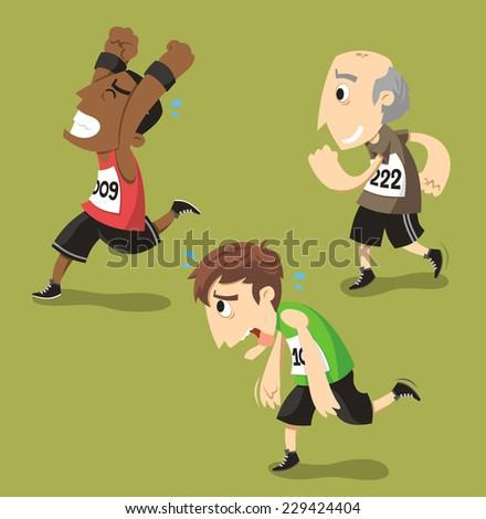 Runners Running Runner Training Jogging, vector illustration cartoon. - stock vector
