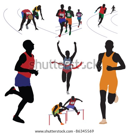 Runners. Set. Vector illustration - stock vector