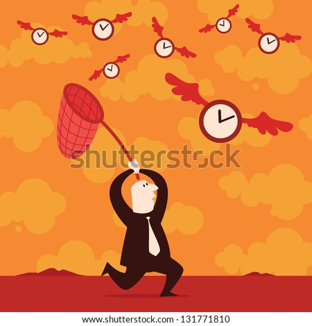 Running After Time - stock vector