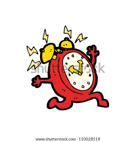 running alarm clock cartoon - stock vector