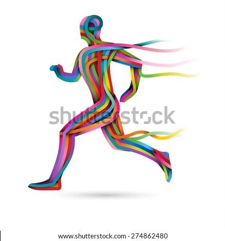 Running athlete, colorful ribbon runner, eps10 vector - stock vector