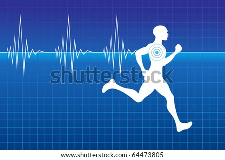 Running athlete on monitor with line of heartbeat. - stock vector