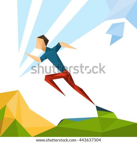 Running Athlete Sprinter Sport Game Competition Vector Illustration - stock vector