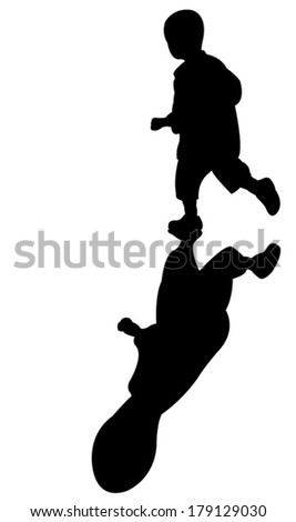 running boy and shadow, at sunset, real shadow illustration - stock vector