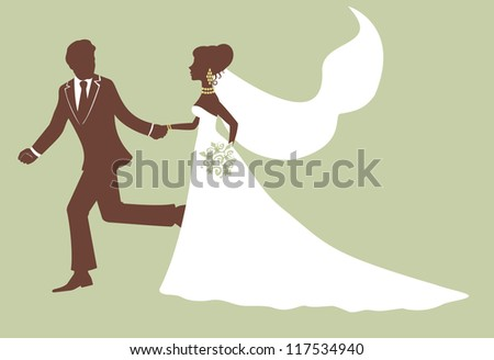 Running bride and groom in profile - stock vector
