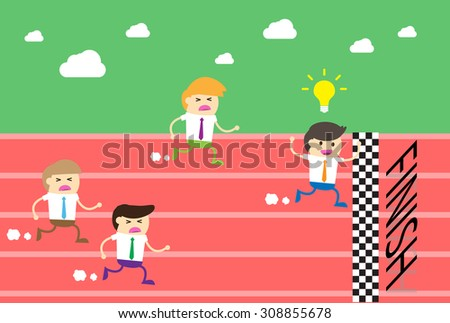 running businessman at the finishing line. wins Race target success. Bulb idea concept. - stock vector