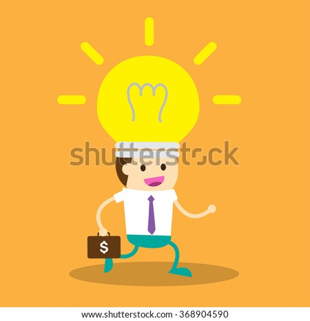 running businessman at the finishing line. wins Race target success. Bulb idea concept.