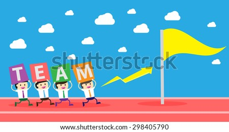 running businessman at the finishing line. wins Race target success. Bulb idea concept. winner. finish. win. flat design. track. Success. goal. Target. team, teamwork. flag - stock vector