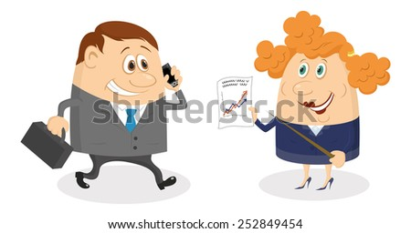 Running businessman with a suitcase and mobile, happy smiling and looking at the graph showing growth dynamics that keeps secretary, funny cartoon characters. Vector - stock vector