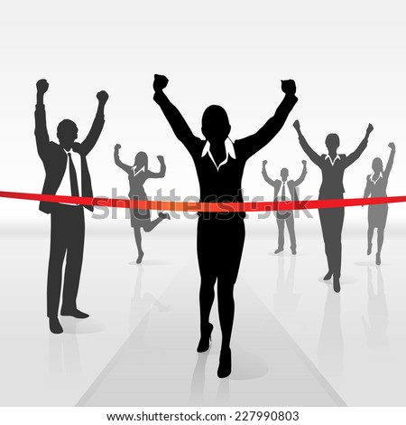 running businesswoman crossing finish line win success business people, vector illustration