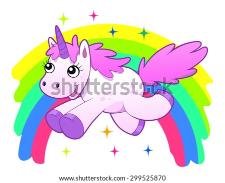 Running cartoon unicorn against the rainbow. Vector illustration. - stock vector