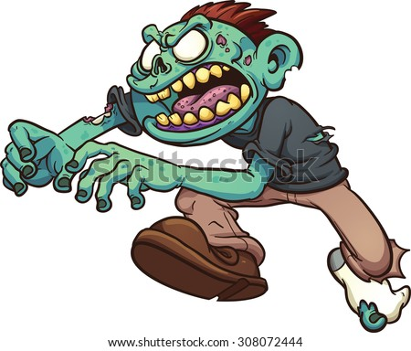 Running cartoon zombie. Vector clip art illustration with simple gradients. All in a single layer. - stock vector