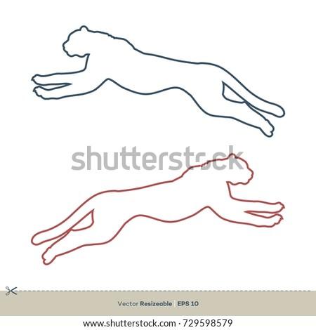 Running Cheetah Line Art Vector Template Stock Vector 729598579 ...