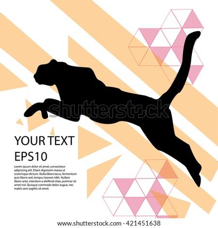 Running cheetah silhouette modern design background - stock vector