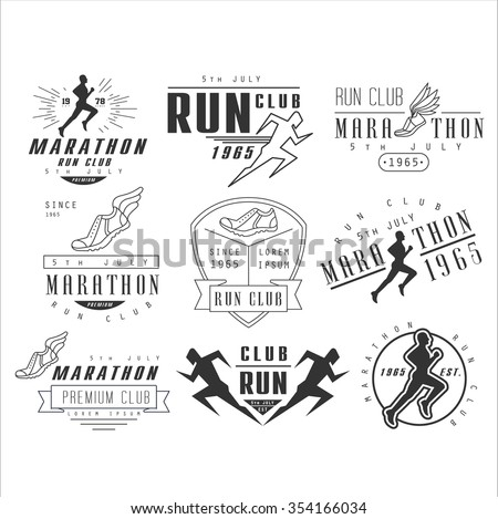 Running club labels, emblems and design elements vector set - stock vector