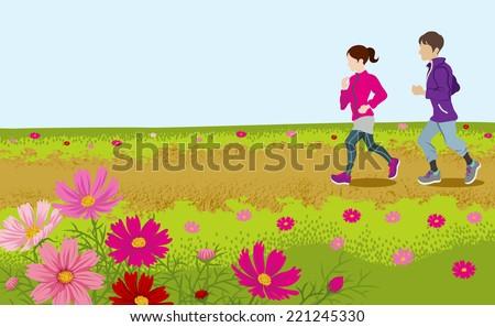 Running couple in Autumn road - stock vector