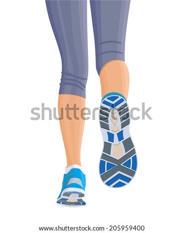 Running female woman legs in shoes isolated on white background vector illustration - stock vector