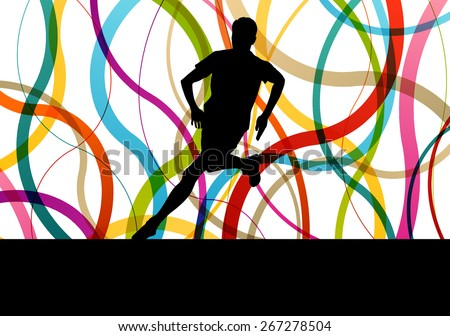 Running fitness man sprinting and training for marathon - stock vector