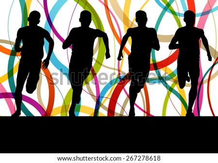 Running fitness men sprinting and training for marathon - stock vector