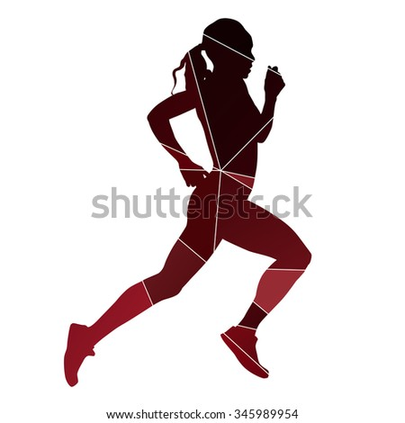 Running girl. Abstract red silhouette - stock vector