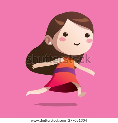 Running girl cute vector character cartoon - stock vector