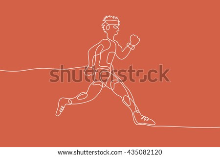 Running graphic using single line to design and form the shape of Runner.