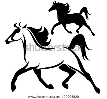 running horse black and white vector outline and silhouette - stock vector