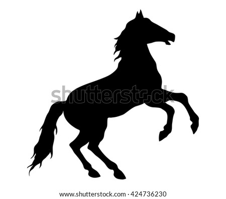 Running horse black silhouette. Jumping horse. Vector illustration.