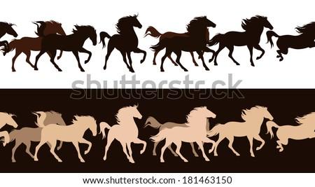 running horses herd contrast outlines - seamless silhouette decor border - stock vector