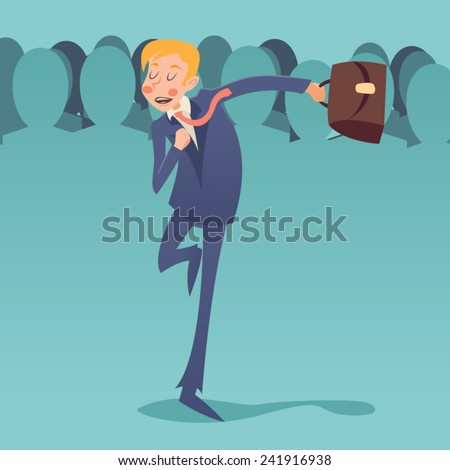 Running Hurry for Meeting Businessman Retro Vintage Cartoon Character Icon on Stylish Crowd People Background Design Vector Illustration - stock vector