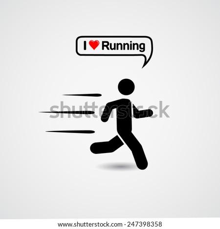 Running. I love running - stock vector