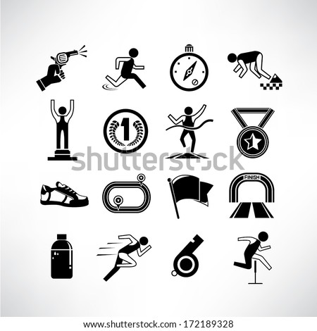 running icons set, run competition icons - stock vector
