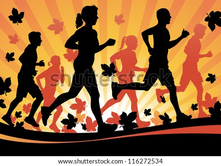 Running in the Autumn Leaves - stock vector