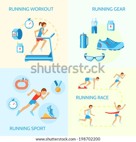 Running jogging composition of workout gear sport race icons isolated vector illustration - stock vector