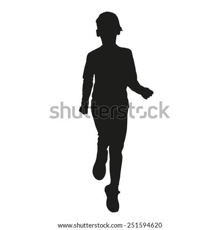 Running kid vector silhouette - stock vector