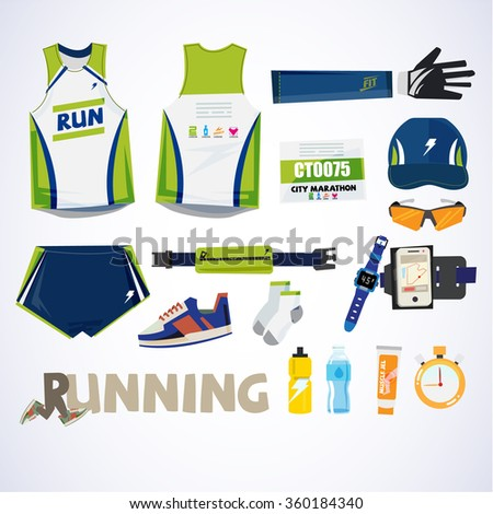 running kit element with typographic for header design. sport concept - vector illustration - stock vector