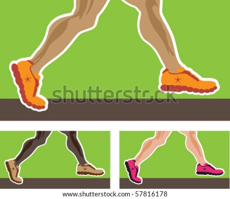 Running Legs in sneakers - stock vector