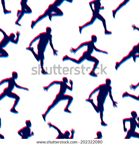 Running male athletes doubled silhouettes figures seamless vector colorful background