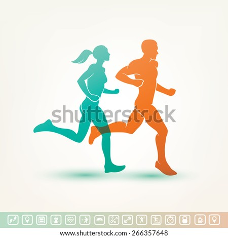 running man and woman silhouette, outlined vector sketch, fitness concept, fitness tracker icons - stock vector