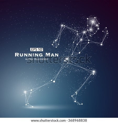 Running Man, dots and lines connected together, a sense of science and technology vector illustration. - stock vector