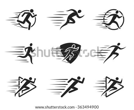 Running man icons with motion trails for sport tournaments, organizations, marathons and running clubs.