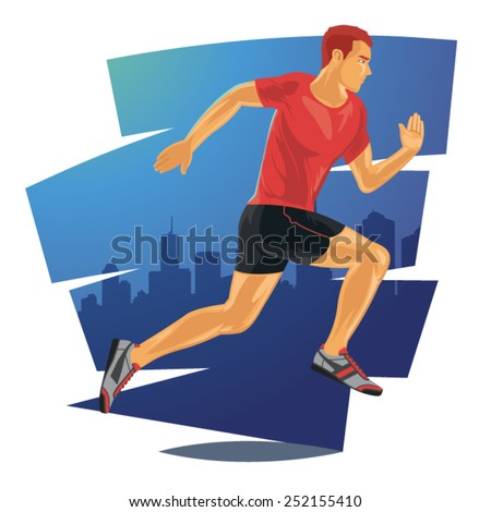 Running man in detailed vector illustration - stock vector