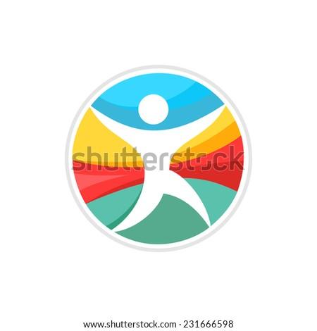 Running man logo template. - stock vector