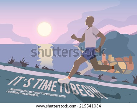 Running man outdoor sport fitness lifestyle time to begin poster vector illustration - stock vector