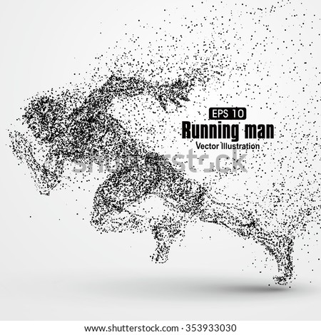 Running Man, particle divergent composition, vector illustration. - stock vector