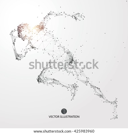 Running Man, points, lines and connected to form, vector illustration. - stock vector