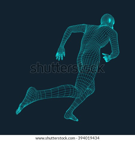 Running Man. Polygonal Design. 3D Model of Man. Geometric Design. Business, Science and Technology Vector Illustration. 3d Polygonal Covering Skin. Human Polygon Body. Human Body Wire Model.  - stock vector