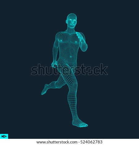Running Man. Polygonal Design. 3D Model of Man. Geometric Design. Business, Science and Technology Vector Illustration. Human Body Wire Model.