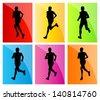 Running man set vector background - stock vector