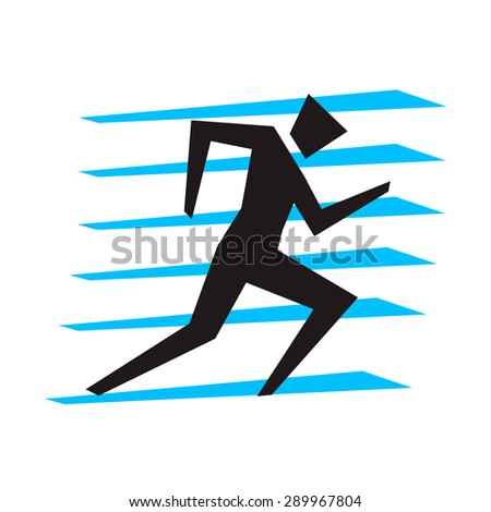 Running man silhouette icon. Let's Run. Simple symbol of run isolated on a white background . Vector Illustration.